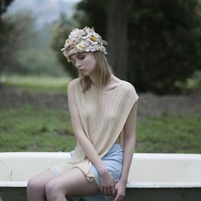 cappello Magli in organza  anni 30, top mantellina hand made, culotte lingerie anni 30  vertigo vintage